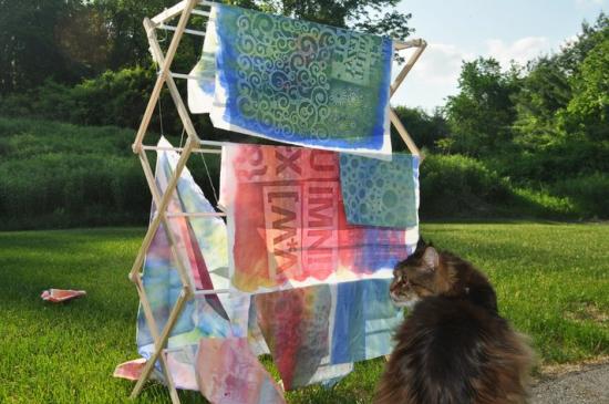 Dickens watching fabrics dry