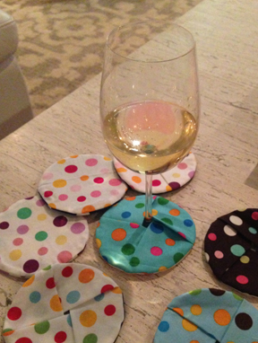 polka dot wine coasters