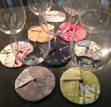 quilted wine coasters